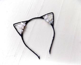 Raw crystal kitty ears! Black cat ear headband with aura quartz crystals, fun music festival hair accessory