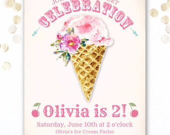 Ice Cream Birthday Invitations, Pink Ice Cream Birthday Invitation Girl, Girl's 1st 2nd 3rd 4th 5th Birthday Party Invites, Ice Cream Party