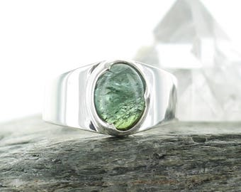 Silver ring Blue Green Tourmaline. Size: 5.25. Natural stone. Gemstone ring. Blue green Tourmaline cabochon. apsarasv ring.