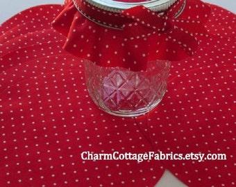 "5.5"" Cotton Circles Jam Jar Honey Jar Covers Mason Gift Jar Topper Red Fabric White Swiss Dots 100% Cotton Set of 12 Cotton Circles"