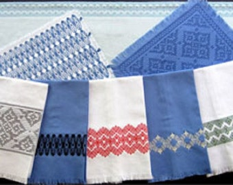 """Swedish Weave Designs """"Inspiration 2.0"""" by Katherine Kennedy  5 Embroidery Designs for Table Decor, Tea Towels, Curtains, Pillows, Afghans"""