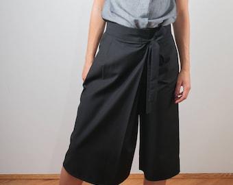 high waist pants/ Black pants/ black extravagant pants/ black asymmetric skirt/ midi pants