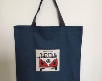 Tote Bag, shoulder bag, shopping bag, utility bag, market bag, red Kombi, blue Kombi, tote bag, Volkswagen, volkswagen, retro