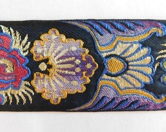 "Woven Jacquard Ribbon Trim Tape~Multi~Red~Black~Green~Purple~White~Yellow~2"""