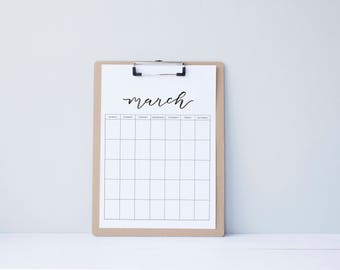 Monthly Calendar Organization - Printable Monthly Yearly Calendar - simple.rustic.minimal.watercolor.