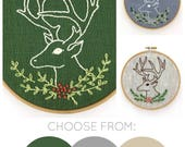 Stag embroidery kit, deer embroidery, antler embroidery pattern, Christmas embroidery kit, DIY holiday decor, stag embroidery pattern, stag