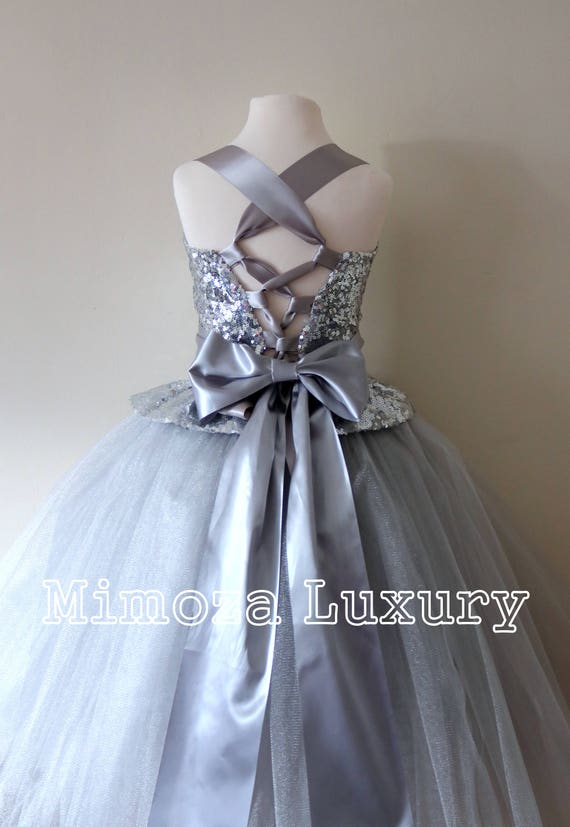 Silver Flower Girl Dress, silver bridesmaid dress, couture flower girl gown, bespoke girls dress, tulle princess dress, silver sequin gown