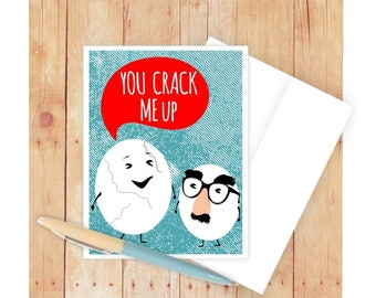 You Crack Me Up Card, Funny Birthday Card, Food Pun, Funny Pun Card, Card for Friend, Eggs, Punny, Glasses and Moustache