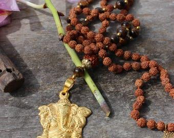 Highly powerful protecting Ganesha, tiger eye & rudraksha Mala