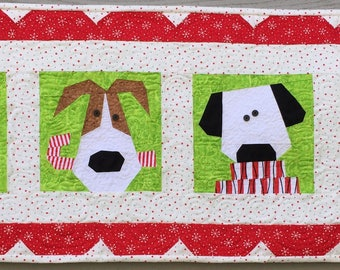 3 Dogs and 1 Sassy Cat Paper Pieced Table Runner Pattern in PDF