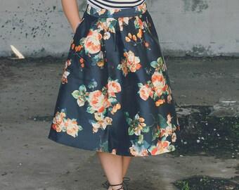 SALE 5 DOLLARS OFF! Black Floral Skirt