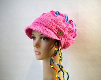 Pink newsboy hat, slouchy beret, chevron dreadlock crown, reflective tam rasta clothing