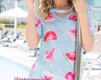 Watermelon ice blue women's keyhole burnout