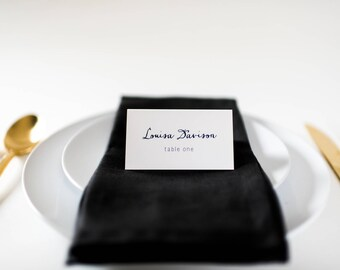 louisa place cards / escort cards (sets of 10) // flat or folded wedding place cards / navy blue calligraphy neutral modern classic