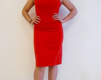 RED HOT!  Velvet Wiggle Dress!