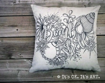 Bombshell - Adult Coloring Pillow COVER ONLY - Home Decor Pillow, Funny Pillow, Rockabilly Cushion, Couch pillow, Throw Pillow, Girl Power