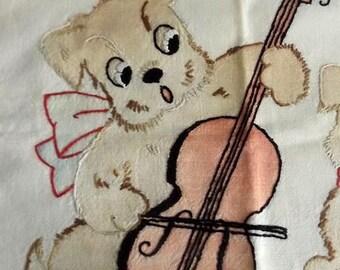 CIJ SALE Vintage Baby Crib Pillow Sham - Cotton Infant Pillow Case w Blue Trim - Hand Embroidered Dogs - Nursery Decor