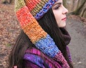 Unisexe rainbow long tailed pointy elf hat pixie cosplay, forest fairy clothing,bell, crochet for pagan hippie elven elfin fantasy festival