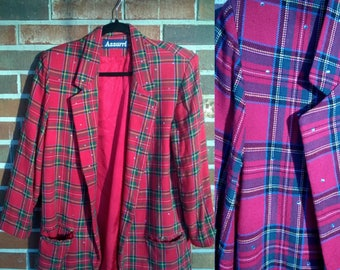 Punk Red Plaid Open Blazer with Rhinestone Detail, M