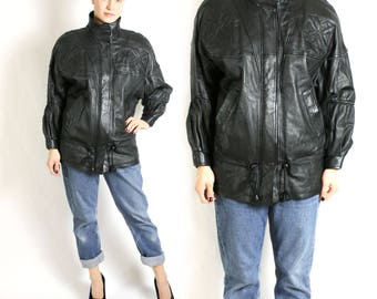 Vintage 80's 90's Avant Garde Black Real Leather Drawstring Coat Parka Jacket Shoulder Pads