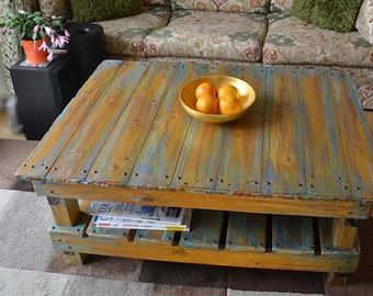 FREE UK SHIPPING Rustic Reclaimed Wood Coffee Table Handpainted Multicoloured Boatwood Finish & Under Shelf Storage Handmade to Order