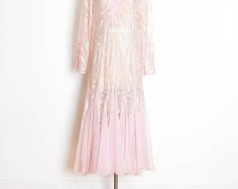 vintage 80s dress, pink lace dress, light pink dress, chiffon dress, sequin dress, flapper dress, 1980s 80s clothing, long dress, L large