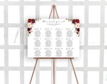 Wedding Seating Chart Template, Marsala Seating chart, Burgundy Seating chart, Seating Plan template, Landscape seating chart, FL16