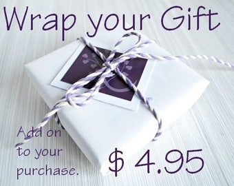 Gift Box and Gift Wrapping with a Personalized Note Card, White Paper and Purple Twine