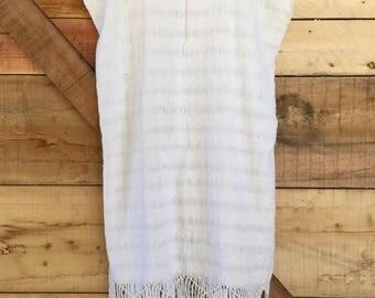 Vintage White Woven Fringe Tunic Dress - Medium