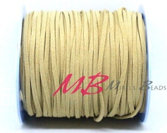 3mm Natural Ultra Micro Fiber Suede, 5 Yard Spool Faux Sued, 15 Feet Flat Cord For Jewelry Making