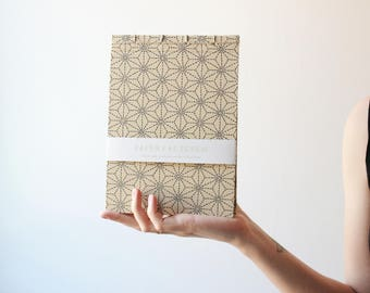 Handmade notebook, japanese bookbinding, traditional japanese pattern notebook, minimal notebook, geometric notebook, made in barcelona,
