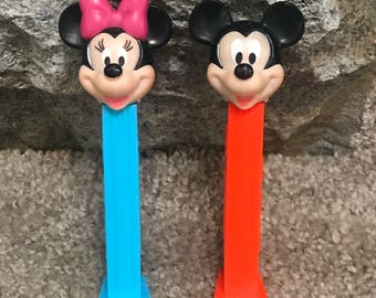 Vintage Mickey and Minnie MOUSE PEZ Dispensers