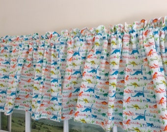 Dinosaurs with Names Valance ~ 42 Inches Wide