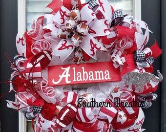 Alabama Crimson Tide Wreath Roll Tide Alabama Football Wreath Front Door Wreaths Alabama Football Door Hanger