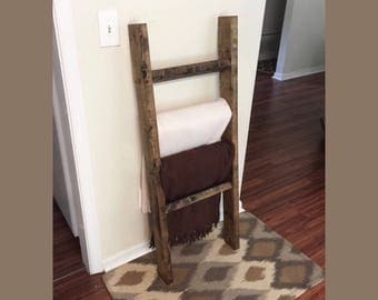 Blanket ladder, towel ladder, rustic ladder, home organization, towel rack