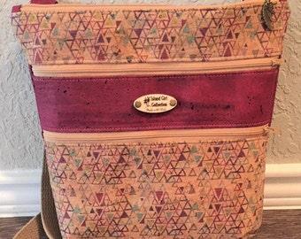 Triple Zipper Cross Body Bag,  Cork Cross Body Bag, Travel Bag, Shoulder Bag, Tropical Handbag in Triangle Print Cork Leather