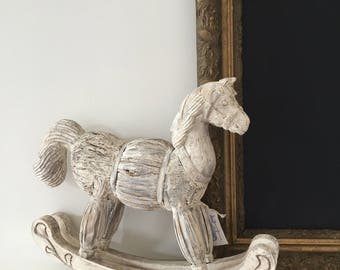 Hand Painted Old World Style Wooden Horse