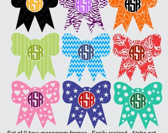bow monogram frames svg digital download bow monogram frames svg cut file bow monogram frames DIY bow monogram frame download svg cut files