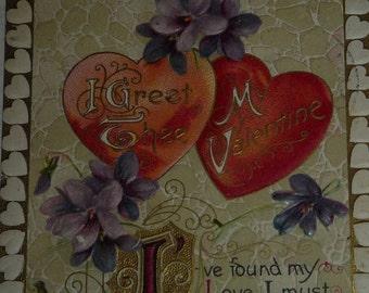 Lovely Hearts and Violets Winsch Valentine Postcard