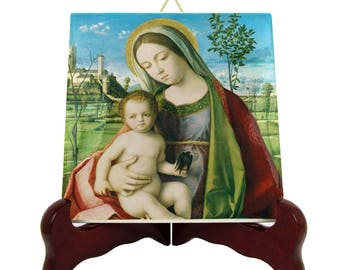 Mother Mary icon on tile - Madonna and Child - Mother Child Art - Blessed Virgin Mary - Sacred Art Prints