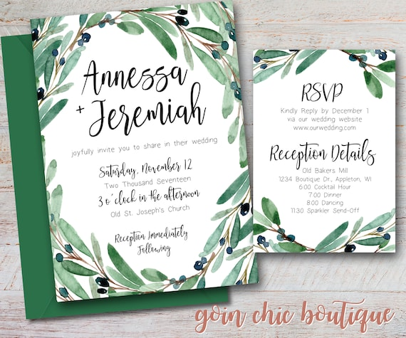 Olive branch wedding invitation tuscan wedding invitation bridal il570xn filmwisefo