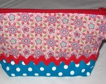 Pouch cosmetic case toiletry vintage - Turquoise/pink