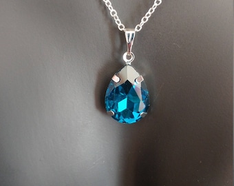 Tear Drop Pendant 925 Sterling Silver Stamped Chain Necklace 18 Inches Ocean Blue
