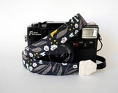 Black thin camera strap, thin camera strap, 1'' wide, Mirrorless camera strap, DSLR camera strap, ideal for light weight camera
