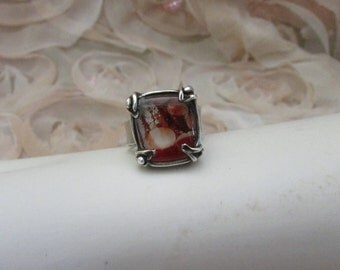 Square red artisan glass set in fine silver