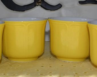 Ironstone Mugs Yellow Ironstone Coffee Cups Yellow Federalist Ironstone Vintage Ironstone Yellow Ironstone dishes Cups 4 Ironstone cups