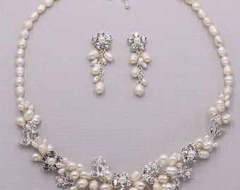 Freshwater pearl CZ jewelry set, CZ Pearl Flower Wedding Necklace Set, handmade bridal jewelry, Audriana Freshwater Pearl Jewelry Set