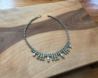 Vintage 1960's Rhinestone Choker Necklace Costume Jewelry