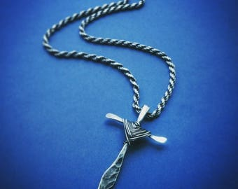 Handmade hammered Cross in sterling silver