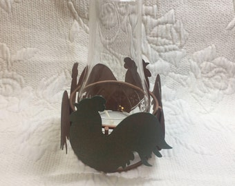 Chicken Rooster Hen Tea Light Candle Holder with Glass Chimney, Metal Cut Out Birds, 4 Chicken Cutouts,  Chicken Decor, Tea Light included
